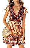 ZESICA Women's Summer Wrap V Neck Bohemian Floral Print Ruffle Swing A Line...