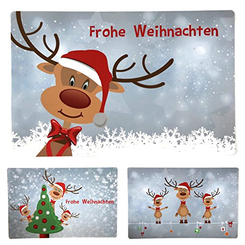 Bada Bing 6er Set Tischset Weihnachten Rentier Rudolph Kinder
