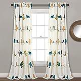 Lush Decor Rowley Birds Curtains Room Darkening Window Panel Set for Living, Dining, Bedroom (Pair), 84' L, Multi, 2 Count
