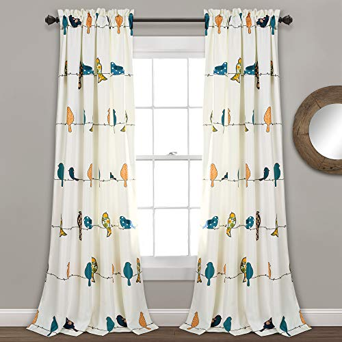 Lush Decor Rowley Birds Curtains Room Darkening Window Panel Set for Living, Dining, Bedroom (Pair), 84' L, Multi, 2 Count