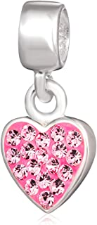 Ollia 925 Sterling Silver Charms Beads Heart Pendant Bezel Set with Austrian Crystals Wholesale
