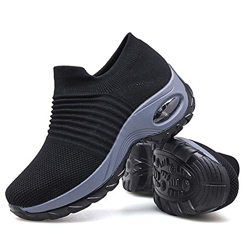 Women's Walking Shoes Sock Sneakers - Mesh Slip On Air Cushion Lady Girls Modern Jazz Dance Easy Shoes Platform Loafers Black,10