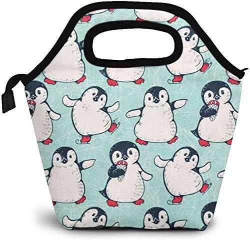 Bolsa de almuerzo con diseño de pingüinos, enfriador con aislamiento térmico, reutilizable, lonchera, bolso portátil para el trabajo escolar