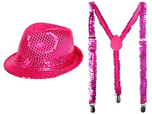 Alsino Glitzerhut mit Party Hosenträger in Pink Karneval Party Set Pailletten Glitzerhosenträger Trilby Hut