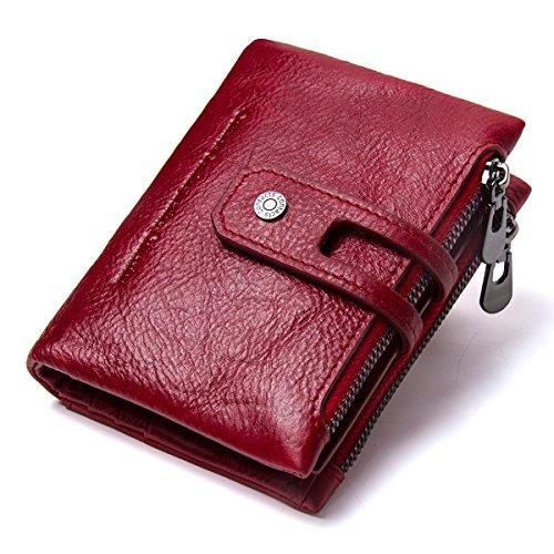 Contacts Herren Echtes Leder-Bifold Wallet Doppelreißverschlusstasche Geldbörse (Rot)