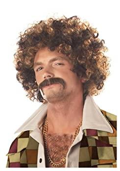 California Costumes Disco Dirt Bag Wig and Mustache Standard Brown