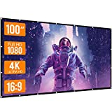 WOWOTO Projector Screen 100 in 16:9 HD Foldable Wrinkle-Free 3D Movie Screen for Home,Outdoor