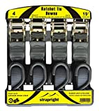 Strapright Heavyweight Ratchet Tie Down Straps 20Ft - Adjustable Lock up Mechanism, Heavy Duty S-Hook | tiedowns for Trucks, Jeeps, Motorcycles, Rooftop Cargo | Bonus Storage Bag - 4 Piece Kit