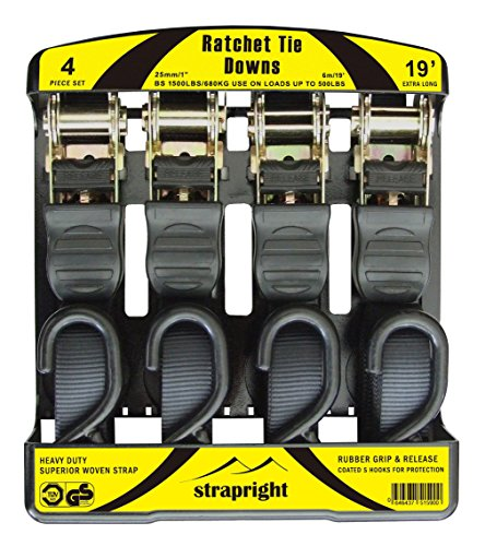 Strapright Ratchet Tie Down Straps - 4 Pack, 19' Extra Long & 1500 Lbs Break Strength | with Ergonomic Handles and Rubber Coated S Hooks | Cambuckle Alternative | Cargo Straps for Moving