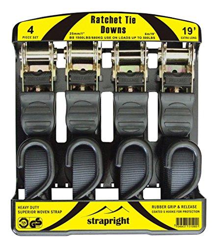 Strapright Heavyweight Ratchet Tie Down Straps 20Ft - Adjustable Lock up Mechanism, Heavy Duty S-Hook | tiedowns for Trucks, Jeeps, Motorcycles, Rooftop Cargo | Bonus Storage Bag - 4 Piece Kit