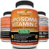 Nutrivein Liposomal Vitamin C 1600mg - 180 Capsules - High Absorption Ascorbic Acid - Supports Immune System and Collagen Booster - Powerful Antioxidant High Dose Fat Soluble Supplement