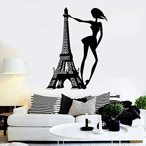 Vcnhln Calcomanías de Vinilo para Pared Torre de París Pegatinas de Pared calcomanías de Chica de Moda para decoración del Dormitorio del hogar Pegatinas 75X57cm