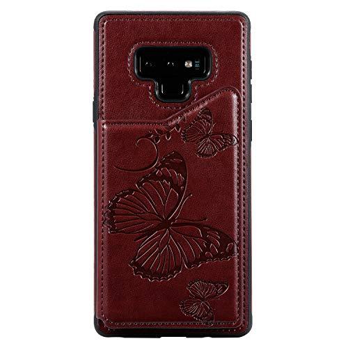 Hülle für Samsung Galaxy Note 9, SONWO Premium PU Leder Brieftasche Handyhülle Schutzhülle für Galaxy Note 9, mit Karteneinschub, Braun