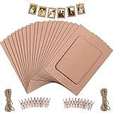 Marco de fotos de papel, 20 unidades de 11,5 x 15,5 cm, diseño retro de papel kraft, para colgar álbumes con mini clips y cuerdas de cáñamo, color marrón