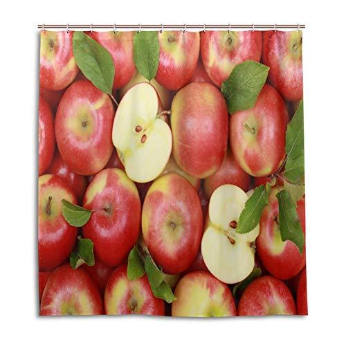 BKEOY Duschvorhang Apfel Muster Badvorhang Wasserdicht Schimmelfest Waschbar Polyester Stoff Vorhang 167x182cm mit 12 Vorhanghaken
