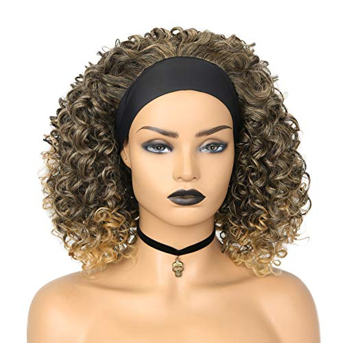 Headband Wigs for Black Women Afro Kinky Curly Turban Wigs with Black hair band Synthetic Party Cosplay Half Wigs for Women 1B/27