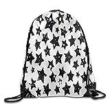 Dog Pattern Basic 100/% Polyester Drawstring Backpack Large Capacity Elegant Travel Bag 16x14 Inch For Adult