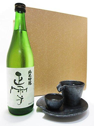 正雪 純米吟醸 720ml + シズル冷酒器セット 銀黒