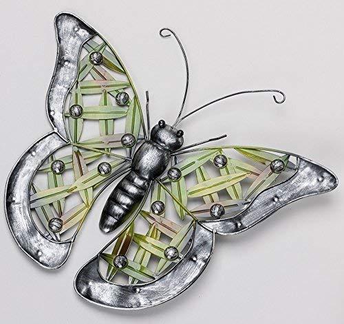 linoows Wanddeko Schmetterling, Bunter Falter, Wandskulptur, Metall Acrylperlen