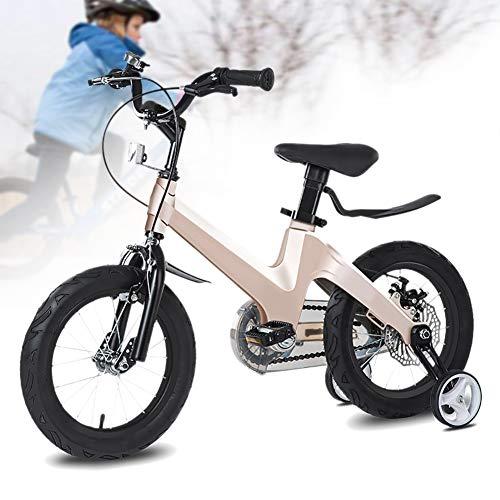 Kinderfiets in hoogte verstelbaar van magnesiumlegering Kids Bike met terugtraprem, zadel en stuur in hoogte verstelbaar, ketting gesloten, 2 remmen, anti-slip pedalen, steunwielen.