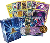 50 Assorted Pokemon Cards - All Rare Bundle! Featuring an EX or GX and Holo Rare in Every Bundle! 1 Pokemon Coin! Includes Golden Groundhog Deck Storage Box!