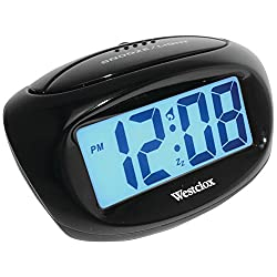 Westclox 70043X Large Easy-to-Read LCD Battery Alarm Clock, Black