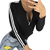 OSYARD Damen T-Shirt Oberseiten Pullover Sweatshirt, Frauen Tunika Hemd Kleidung mit Reißverschluss O-Ausschnitt Gestreift Splice Langarm Top Bluse Sport Kurze Pulli Strickpullover(S, Schwarz)