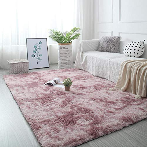 ZZLHHD Oveja de Piel sintética Felpudo Alfombra,Alfombra de teñido Anudado de Lujo Ligero, cómoda Alfombra para el hogar-Rosa Violeta_160x80cm,alfombras mullidas de Interior súper