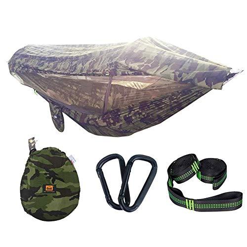Tragbare Camping-Hängematte für 1-2 Personen, mit Markise, Moskitonetz, hohe Festigkeit, Fallschirm, hängendes Bett, Jagd, Schaukel, 290 x 145 cm-I