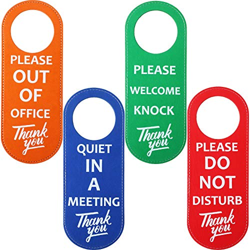 4 Pieces Do Not Disturb Sign, Door Handle Hanger Sign PU Leather, Out of Office Sign, Please Knock Sign, in a Meeting Sign, Office Conference Sign Privacy Door Sign for Office School Business