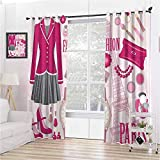 Girly Decor 100% Blackout Lining Curtain Fashion Theme in Paris with Outfits Dress Watch Purse Perfume Parisienne Landmark Decor Full Shading Treatment Kitchen Insulation Curtain W42 x L84 Inch Pink