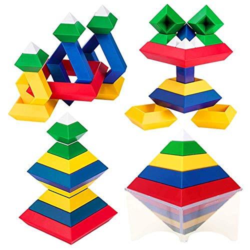 Zerodis Bausteine Spielzeug 3D Puzzle Denksportaufgaben Pyramide Geschwindigkeit Würfel Lernspielzeug für Kinder Erwachsene Vorschule Lernspielzeug Stapeln Block Sets