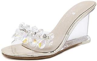 4307236cc8 Wedge Sandals Women Summer Sexy Crystal Transparent High-Heeled Slippers  Rhinestone Wedge Sandals