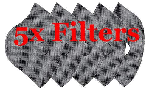 Staubmaske Atemmaske Mundschutz Mundmaske Waschbar Staub Schutz Maske Ersatzfiltern Anti Pollen Allergie Mit Ventil Motorrad Radsport Outdoor aktivitäten 4sold (Only 5 x Filters)