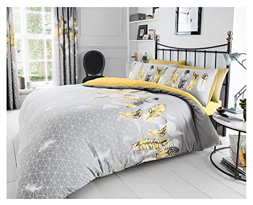 Gaveno Cavailia Luxury Super Soft Feathers Duvet Cover, Poly-Cotton Easy Care Quilt Set with Matching Pillowcases, Yellow, Double Size Bedding, 50% Polyester & 50