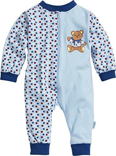 Playshoes Baby-Unisex Schlafanzug Schlafoverall Jersey Bär Schlafstrampler, Blau (original 900), (Herstellergröße: 74)