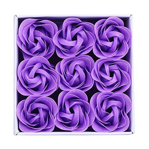 Andouy Seife Rose Blume Floral Duft Seife Rose Flower Blumen in Geschenkbox für Geburtstag/Jahrestag/Valentinstag/Muttertag(10x10x4.5cm.Lila)