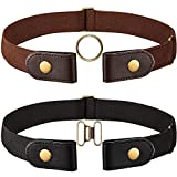2 Pieces Black and Brown Elastic Belt (No-buckle) with Brass Snap Fastener
