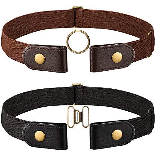 2 Piezas de Cinturón Elástico Negro y Marrón (Sin Hebilla) con Cierre de Latón y un par de Hebillas de Latón Marrón (Mujer 46 CM)