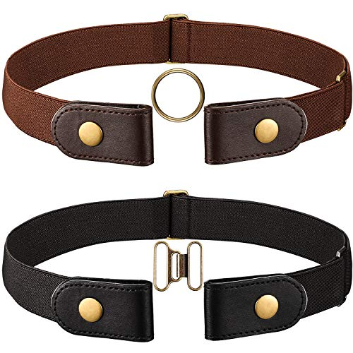 Yaomiao Pack of 2 elastic belt without buckle for women / men Elastic belt for jeans Pants without buckle and a pair of brown brass buckles