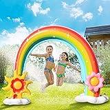 Weanas Inflatable Rainbow Sprinkler for Kids, Water Sprinkler Toys for Toddlers Fun Water Play Sprinkler w/2 Frisbees Toys for Boys Girls