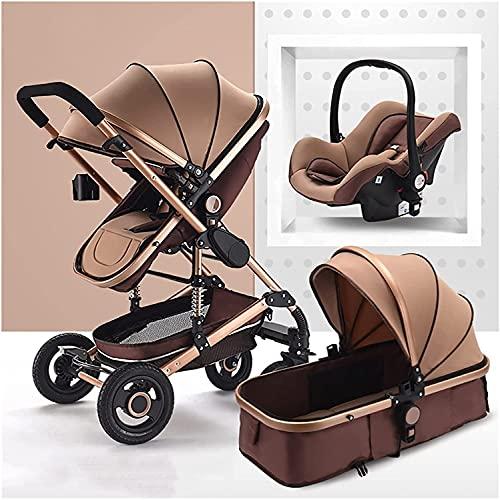 VTAMIN Sistema de viaje de PRAM 3 en 1, cochecito de lujo carrito de cochecito de bebé plegable bebé springs de la cochecito de la vista del bebé con canasta de bebé con canasta de bebé y soporte de t