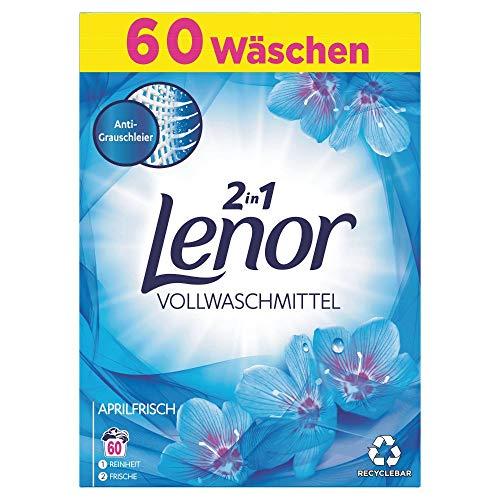 Lenor Waschmittel Pulver, Waschpulver, Lenor Aprilfrisch mit Duft von Frühlingsblumen, 60 Waschladungen (3.9 kg)