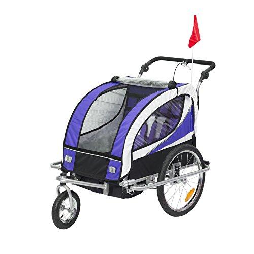 HOMCOM Kinderanhänger 2 in 1 Anhänger Fahrradanhänger Jogger 360° Drehbar für 2 Kinder lila-schwarz