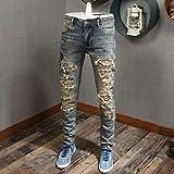 Woovitpl Moda Streetwear Hombres Jeans Slim Fit Elástico Destruido Destruido Ripped Jeans Hombres Patchwork Bordado Designer Pantalones Hip Hop Jeans Homme Amarillo Retro 30