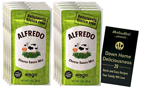 Riega Organic Alfredo Cheese Sauce Mix Powder Packets | Gluten Free | Pack of 8 (1 Ounce) | Plus Recipe Booklet Bundle