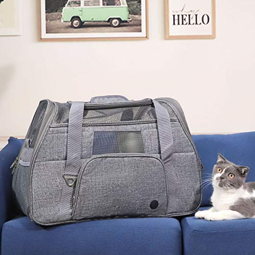 JJKK Pet Carriers for Small Medium Cats Dogs, Soft-Sided Ventilated, Comfortable Design Pet Bag for Traveling,Gray