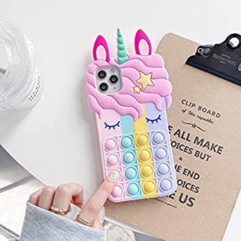 Girl Phone Case for iPhone 6/6S/7/8/se2020,Push Pop Bubble Fidget Toys,Soft Silicone Unicorn Mobile Phone Protective Shell for Girlfriend  for iPhone 6/6S/7/8/SE2020 4.7