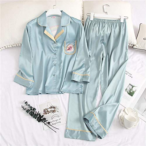 JFCDB Nachthemd 2020 Afdrukken Mode Vrouw Sexy Ijs Zijde Lange mouw Broek Twinset Pyjama Zomer Vest Dunne sectie Nachtkleding, Blauw Groen, XL