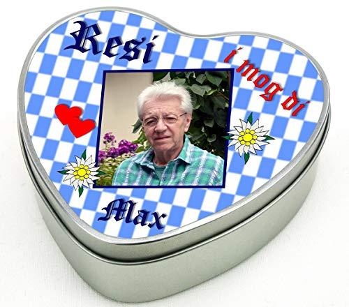 bedruckte Geschenkdose Herz aus Metall - Motiv 7 (Bayern) Ihren Wunschnamen mit Foto und Wunschtext